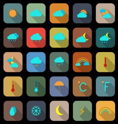 Weather flat color icons with long shadow vector image vector image