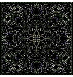 Color ornament on black background vector