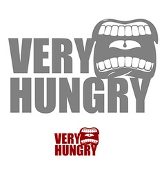 Very hungry open mouth with his lips logo for vector