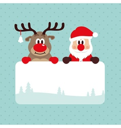 Christmas santa and rudolph vector