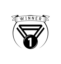 Blank winner award medal with ribbon isolated on vector