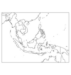 South east asia political map black outline on vector