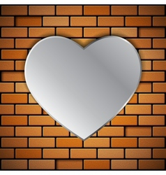 Brick wall with heart vector