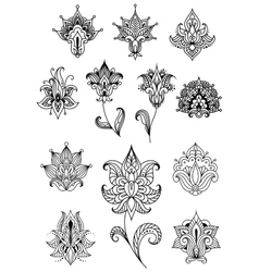 Paisley design elements with outline indian vector