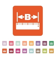 The width icon measurement and ruler symbol flat vector