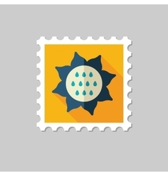 Sunflower flat stamp with long shadow vector
