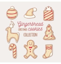 Hand drawn gingerbread cookies set doodle holiday vector