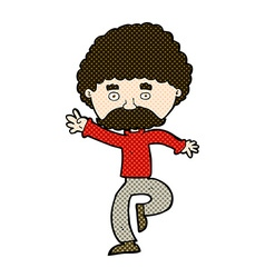 Comic cartoon mustache man disco dancing vector