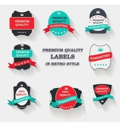 Premium quality label set in flat modern vector
