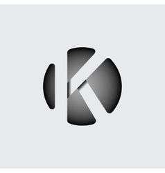 Letter k made of wide white stripes vector