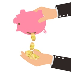Gold coins falling from piggy bank to man hand vector