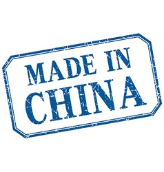 China - made in blue vintage isolated label vector
