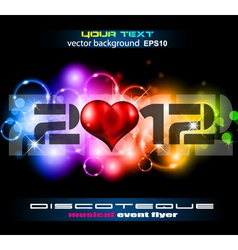 Valentines day disco flyer vector