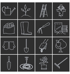 Line grey icons gardening equipment vector