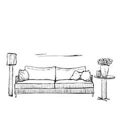 Hand drawn sketch of sofa with pillows vector