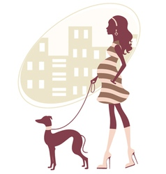 Pregnant woman with greyhound vector image
