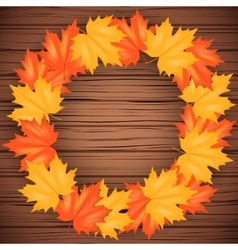 Autumn leaves and wood backdrop vector