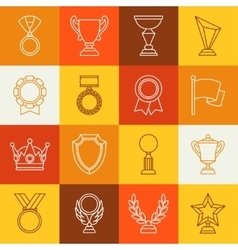 Awards and trophy sport or business line icons set vector