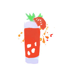 Bloody mary cocktail colorful hand drawn vector