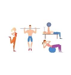 Cartoon sport gym people vector image vector image
