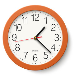 classic round wall clock in orange body isolated vector image