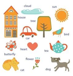 Cute preschool words collection vector image