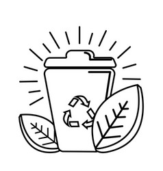 Figure can of recycling with leaves icon vector