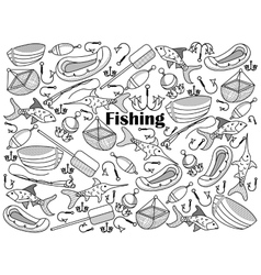 Fishing colorless set vector image