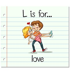 Flashcard letter L is for love vector image vector image