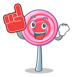 foam finger cute lollipop character cartoon vector image vector image
