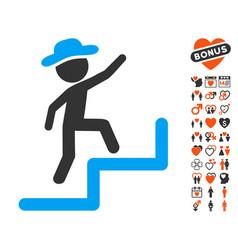 Gentleman steps upstairs icon with dating bonus vector