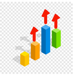 Growth chart isometric icon vector