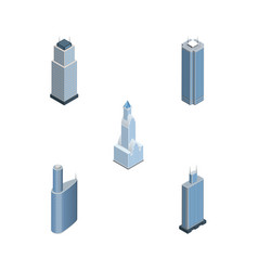 isometric building set of business center vector image
