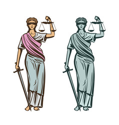 judiciary symbol lady justice with blindfold vector image vector image