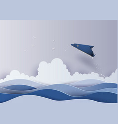 Origami made dolphin in the sea vector