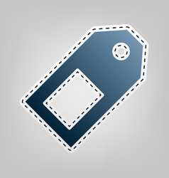 Price tag sign blue icon with outline for vector