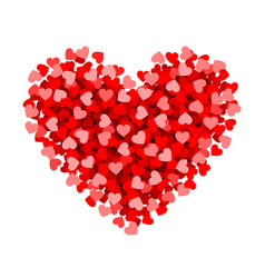 Red heart made of small valentines day card vector