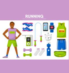 running sport equipment marathon runner man vector image
