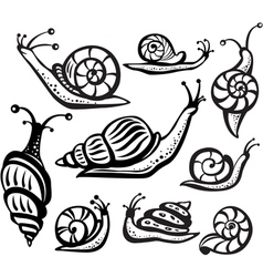 Set of black and white snails vector
