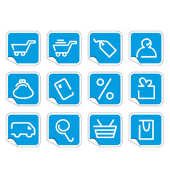 shopping icon set on stickers vector image