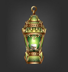 Vintage gold lantern with a green glow vector
