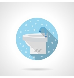 White sink round blue flat icon vector image
