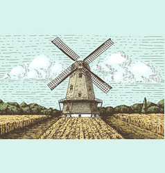 Windmill landscape in vintage retro hand drawn or vector