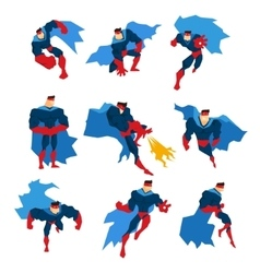Comics superhero with blue cape in action classic vector