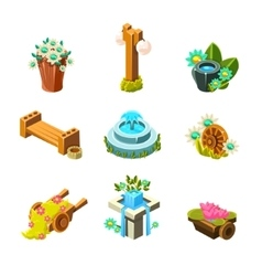 Video game garden landscape decoration collection vector