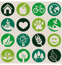 Green seamless pattern with ecology signs vector