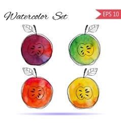 Set of watercolor red orange green vector image