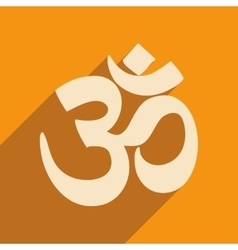 Modern flat icon with long shadow indian om sign vector
