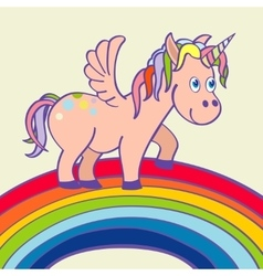 hand drawn unicorn standing on a rainbow vector image