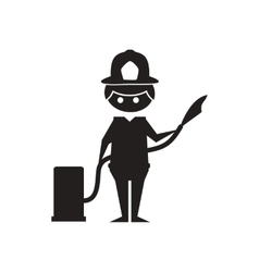 Flat icon in black and white firefighter vector